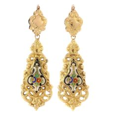 Antique Victorian gold dangle earrings with enamel by Unknown