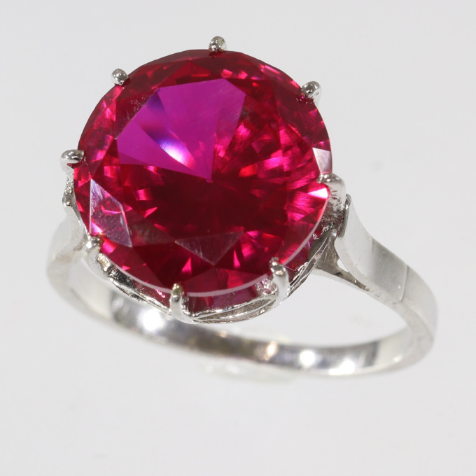 French estate platinum engagement ring with big red stone by Unknown