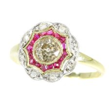 Beautiful bicolour gold Art Deco diamond and ruby ring (ca. 1920) by Unknown Artist