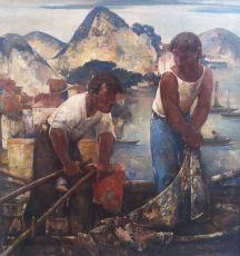 Fishermen on the Lago di Como  by Willem van den Berg