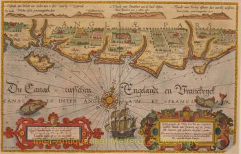 England, coastal chart between Wight and Dover  by  Waghenaer