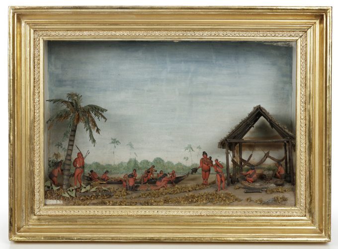 A unique diorama depicting Carib Indigenous at the river side by Unknown Artist