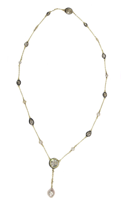 Antique 19th Century large diamond and large natural pearl necklace by Unknown Artist