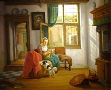 Interior with woman, craddle and dog