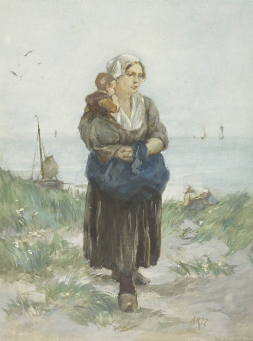 Mother and child in the dunes by David Artz