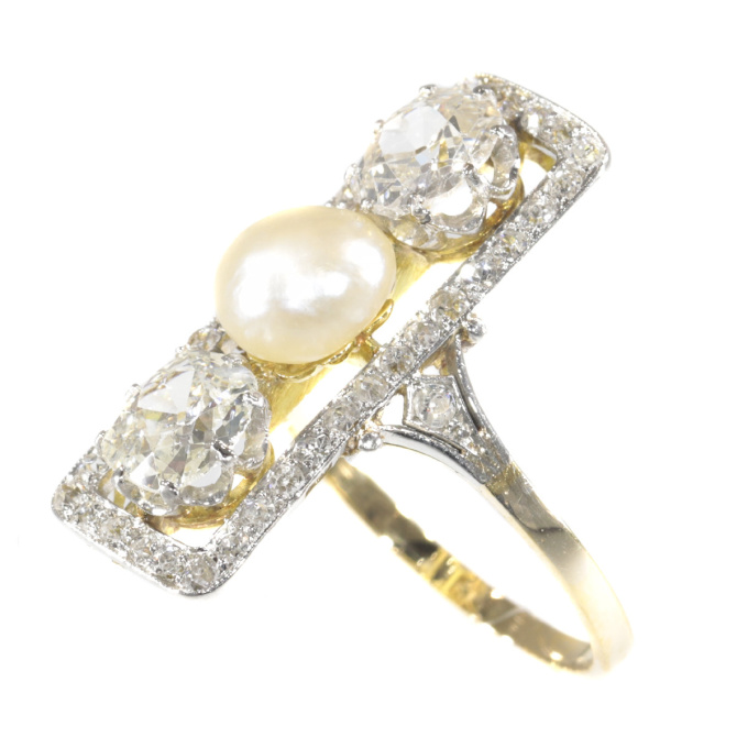 Large impressive Belle Epoque Art Deco diamond and pearl engagement ring by Unknown