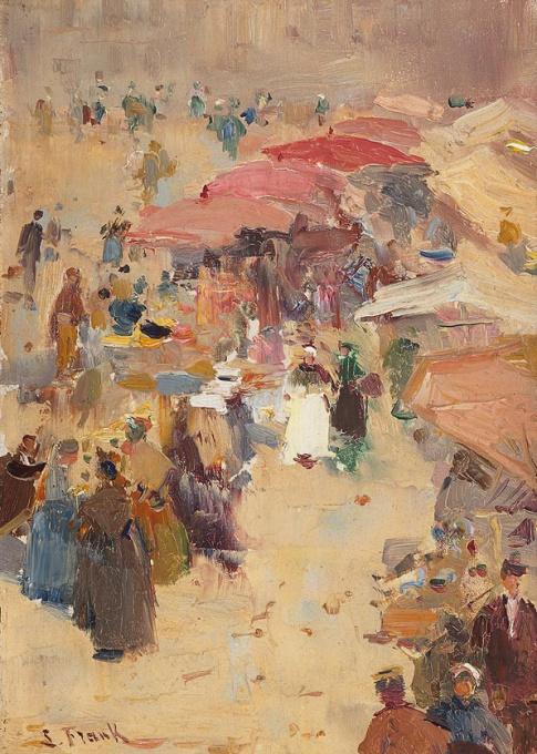 De lakenmarkt in Veurne by Lucien Frank