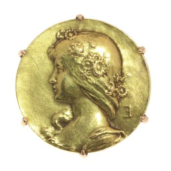 Antique gold pin Lady face signed Emile Vernier France by Emile Vernier