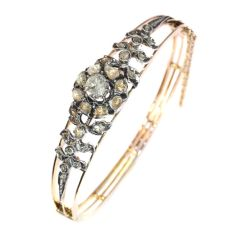 Real antique vintage rose cut diamond pink gold bangle by Unknown