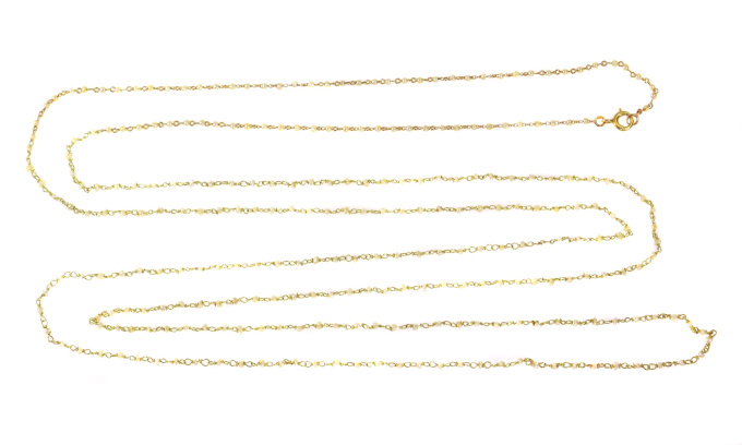 French antique Victorian fine gold long necklace with 277 drilled fine natural seed pearls by Unknown Artist
