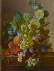 Grapes, peaches and other fruit on a stone ledge