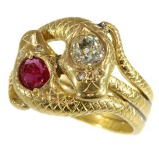 Late Victorian gold double serpent snake ring set with big diamond and ruby by Unknown