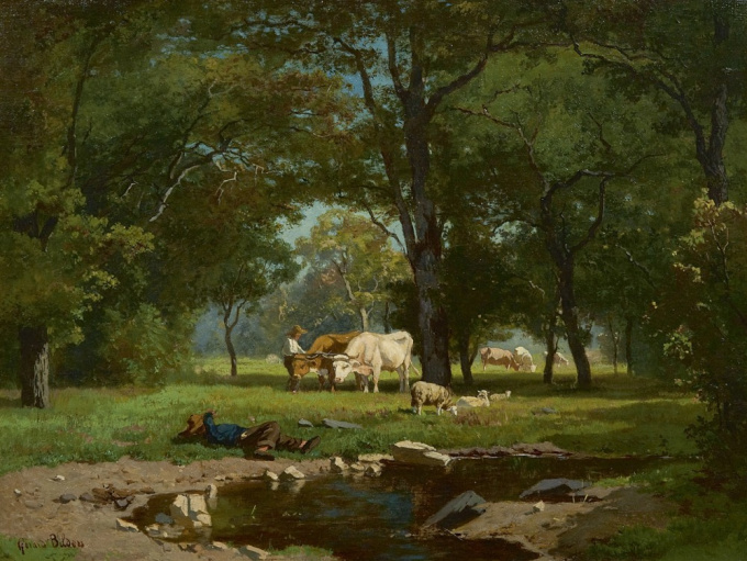 Cowherds and cattle in a forest by Gerard Bilders