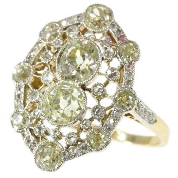 Très Belle Epoque diamond engagement ring with natural fancy color diamonds by Unknown Artist