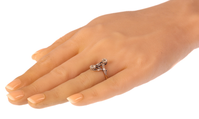 Vintage Belle Epoque diamond toi et moi engagement ring by Unknown Artist