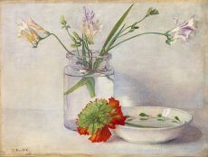 Still-life with Flowers in a vase and platter by Jo Koster