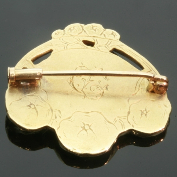Art Nouveau floral gold pin Lady profile signed Zacha by Unknown Artist