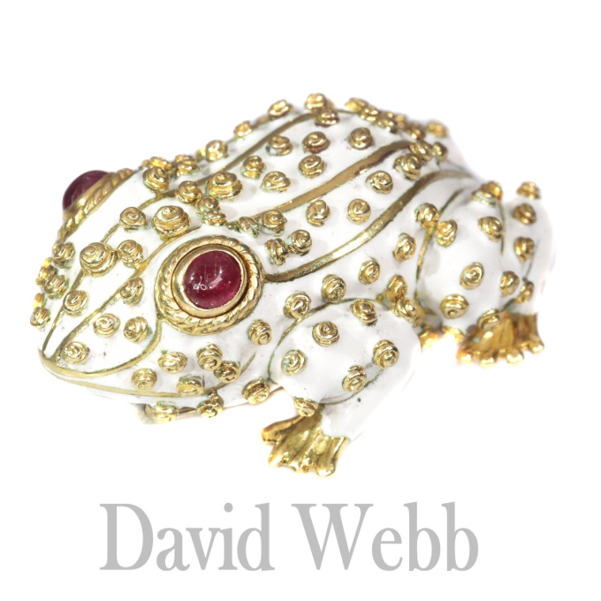 David Webb signed white frog large brooch with ruby eyes by Unknown