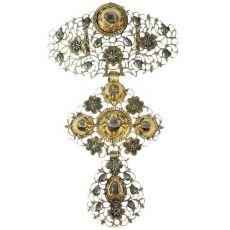 Pre-Victorian Belgian gold diamond à la Jeannette pendant by Unknown Artist