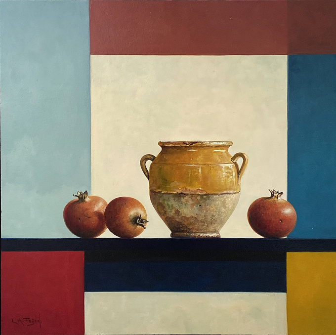Yellow jar by Lion Arie Feijen