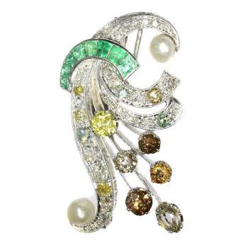 Vintage fancy color diamonds platinum bouquet or feather pendant/brooch by Unknown Artist