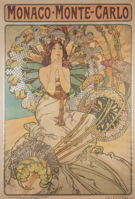 Monaco - Monte Carlo, lithograph made by Alphonse Mucha by Mucha, Alphonse