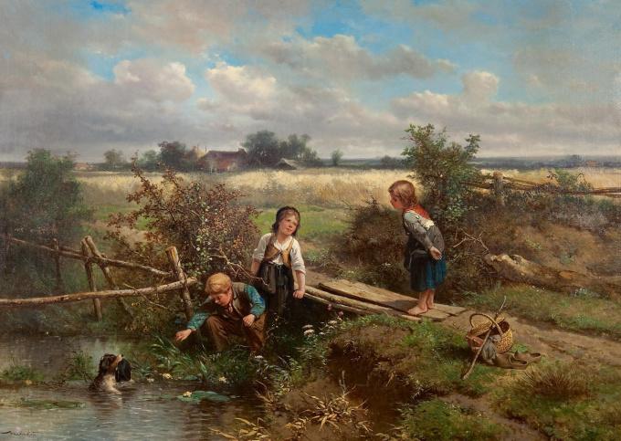 Children playing near a ditch by Johan Mari ten Kate