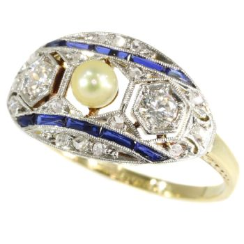 Original Art Deco engagement ring with diamonds, sapphires and a pearl by Unknown Artist