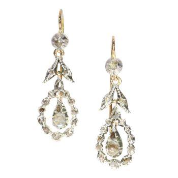 Late Georgian rose cut diamond long pendent earrings by Unknown Artist