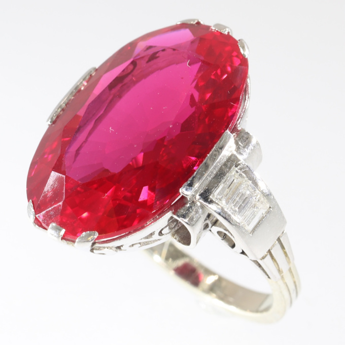 French Art Deco large Verneuil ruby and diamond engagement ring by Unknown Artist