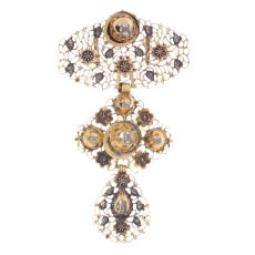 Pre-Victorian Belgian gold diamond à la Jeannette pendant by Unknown Artist