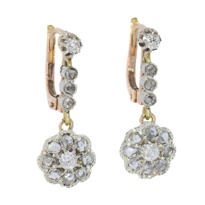 Vintage Art Deco short pendent diamond earrings by Unknown Artist