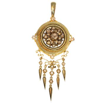 Antique rose cut diamonds and pearl enameled pendant both brooch and pendant by Unknown Artist