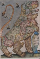 Old map of the lower countries in the form of a lion, 1647 by strada