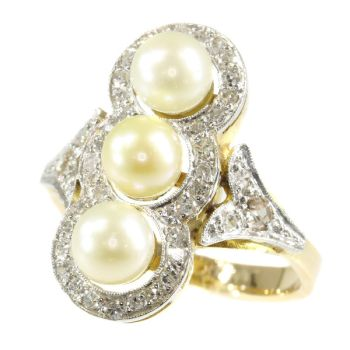 Vintage diamond and pearl ring from the Fifties by Unknown Artist