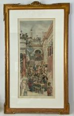 """Spring"" (original photogravure, hand coloured) by Lawrence Alma-Tadema"