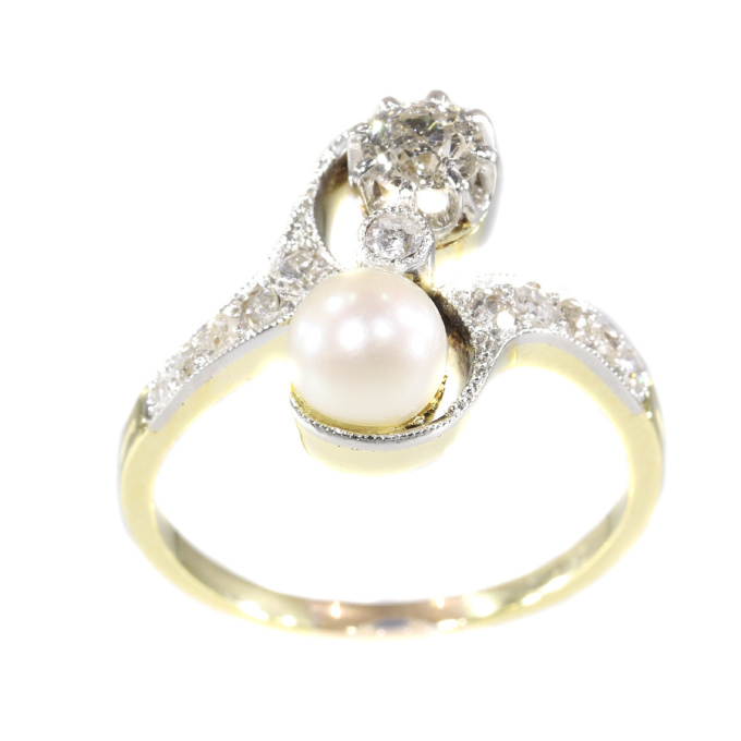 Belle Epoque diamond and pearl engagement ring model toi et moi by Unknown Artist