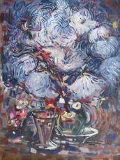 Still life with white chrysanthemums by Nico Van Rijn
