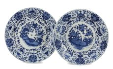 A PAIR OF VERY LARGE CHINESE ARMORIAL EXPORT BLUE AND WHITE PORCELAIN 'PELGROM' CHARGERS by Unknown Artist