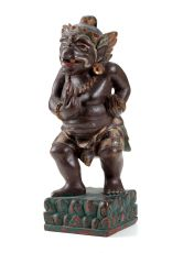 A RARE BALINESE POLYCHROME WOOD STATUE OF TWALEN by Unknown Artist