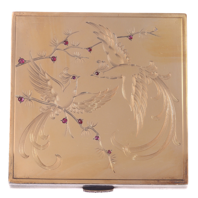 French silver powder box with interior mirror and gold and rubies decoration of birds of paradise by Unknown Artist