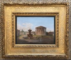 Micromosaic in gilded wooden frame, depicting the Forum Boarium in Rome, nowadays the Piazza della B