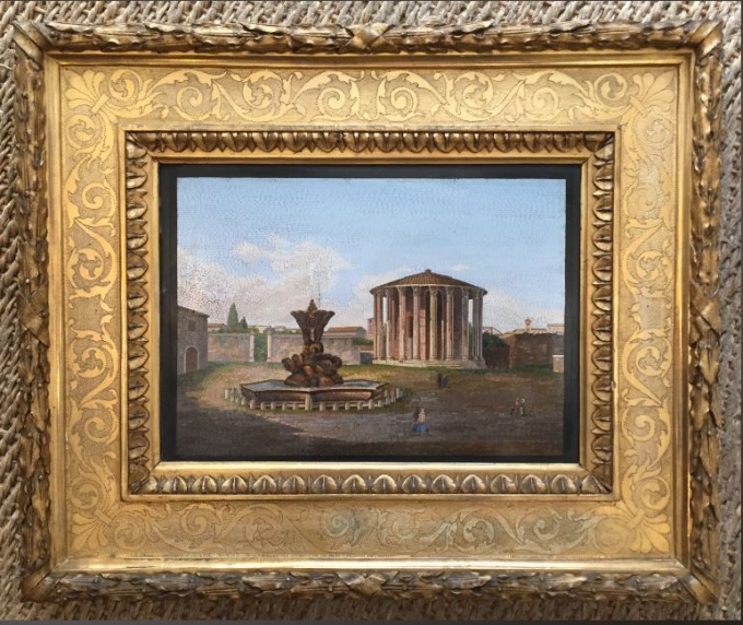 Micromosaic in gilded wooden frame, depicting the Forum Boarium in Rome, nowadays the Piazza della B by Unknown Artist