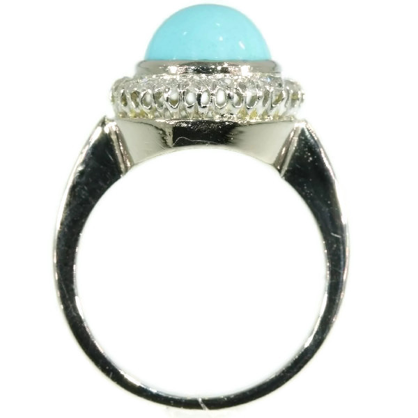 White gold estate diamond ring with turquoise by Unknown Artist