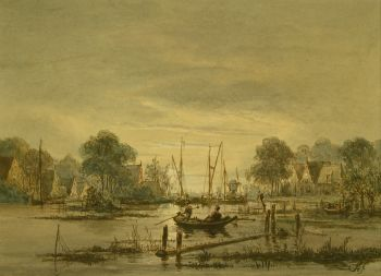 Anglers rowboat in moonlight. by Jacobus Theodorus Abels