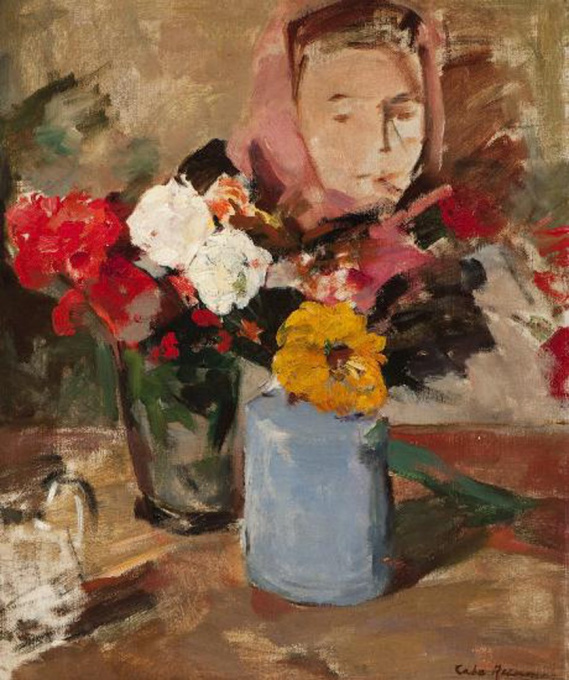 Two vases with flowers and a portrait by Coba Ritsema