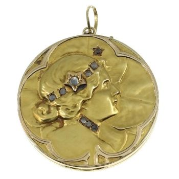 Art Nouveau lucky locket with rose cut diamonds by Unknown Artist