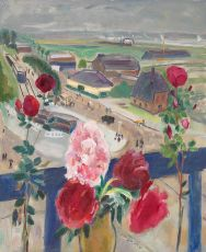 Still life with flowers and a view at the Amstelveenseweg by Jan Sluijters