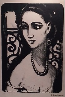Girl with pearl neckless by Kees van Dongen