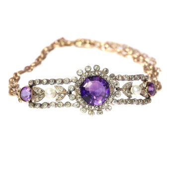 Antique gold bracelet with amethyst diamonds and pearls by Unknown Artist